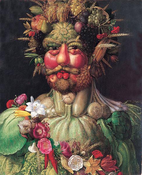 Guiseppe Arcimboldo (1527–1593) Rudolf II als Vertumnus (1590) Olieverf op doek (68 x 56 cm) Kasteel Skokloster, Zweden