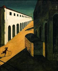 Giorgio de Chirico (1888 – 1978) Mysterie en melancholie van een straat (1914) Olieverf op doek (85 x 69 cm) particuliere collectie