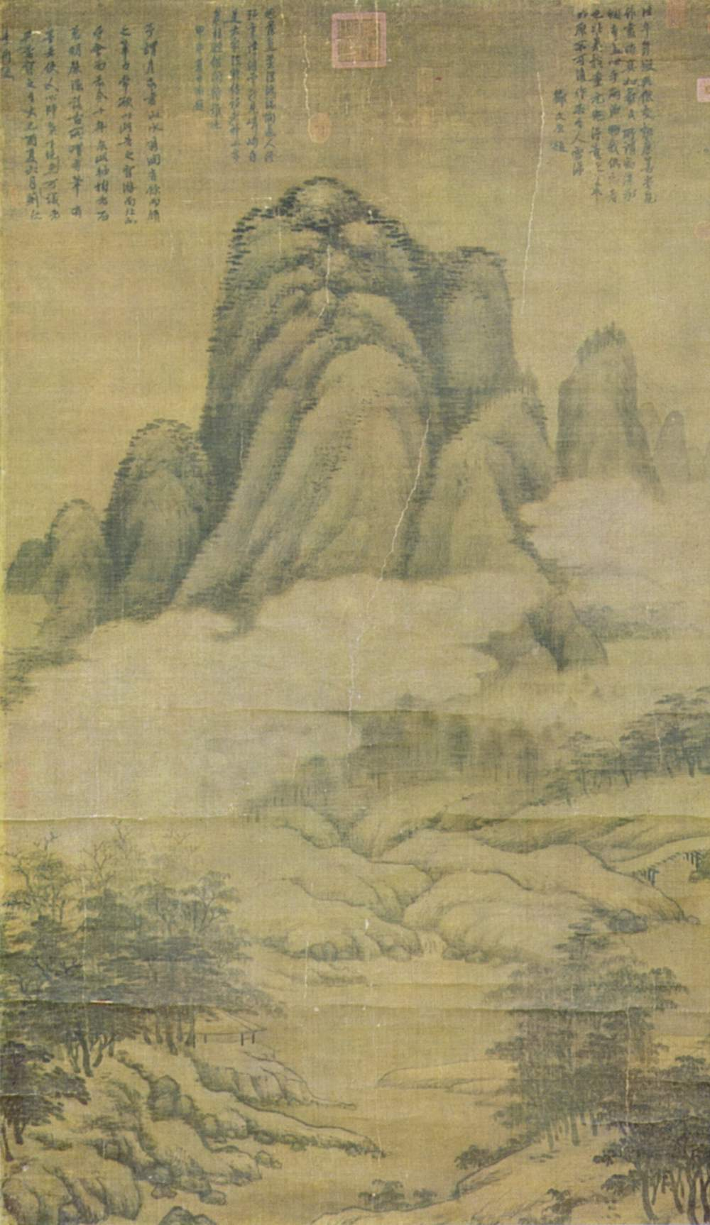 Kao K'o-kung (1248–1310) Nevel in bebost berglandschap Inkt op papier Nationale verzameling van Taiwan